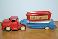 Vintage JAPANESE TIN LITHO SSS Truck With Trailer Sand Gravel Friction