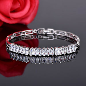 European Geometric Element Natural White Topaz Platinum Plated Charm Bracelets