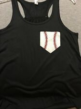 Baseball Pocket Monogram Flowy Bella Tank Top Initials Number Glitter Home plate