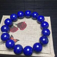 Natural Royal Blue Lapis Lazuli Gemstone Beads Bracelet AAAAA 15mm