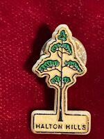 Halton Hills Script Ontario Canada Plastic Evergreen Tree Tie Lapel Pin 1.25 Vtg
