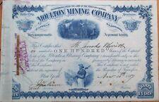 1887 Montana Territory, Moulton Mining Stock Certificate-William Clark Autograph