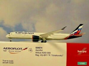 Herpa Wings 1:500  Airbus A350-900  Aeroflot VQ-BFY  534574  Modellairport500