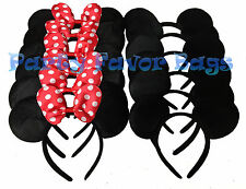 24 pcs Mickey Minnie Mouse Ears Headbands Black Red Party Favors Birthday Gift