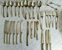 Lot of 30 Vtg Silverplate Silverware Flatware Variety Holmes Edwards & More