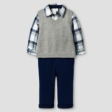 Baby Boys' 3 Piece Vest, Pant & Plaid Bodysuit Set Cat & Jack, Newborn NB