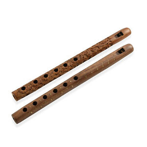 Beautiful Traditonal Musical Instrument Set of 2 Handcrafted Wooden Flutes