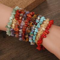 Natural Stone Chip Beads Stretchy Bracelet Ethnic Style Colored Stone Bracelet
