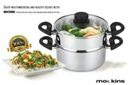 mockins 3 Piece Premium Heavy Duty Stainless Steel Steamer Pot Set Includes 3 Qt