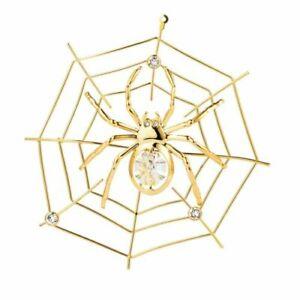 SPIDER ON WEB SWAROVSKI (R) CRYSTAL GOLD DECORATION ORNAMENT FIGURINE W/GIFT BX