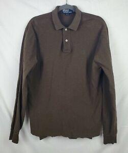 Polo by Ralph Lauren Men's Brown 100% Cotton Long Sleeve Polo Shirt sz M