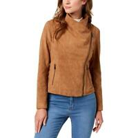 BCBGeneration Womens Faux Suede Drapey Motorcycle Jacket BHFO 3375