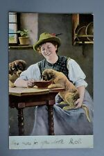 R&L Postcard: Hildesheimer Card German? Lady Feeding Puppy Dog at Table