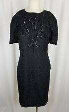 Vintage American Night Glam Heavily Beaded Silk Formal Cocktail Dress Womens M
