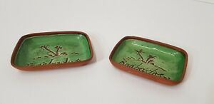 PAIR OF BARBADOS STUDIO POTTERY TRINKET SIDE DISHES