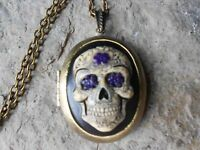 -HAND PAINTED CAMEO LOCKET- SKULL, MEXICAN, SUGAR SKULL, DAY OF THE DEAD, GOTHIC
