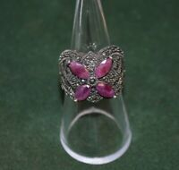 Vintage Sterling Silver, Red Gemstone, and Marcasite Ring Size 7