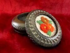 BEAU boîte avec couvercle prise bois rond 13 cm gris décoration florale
