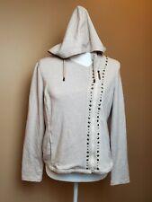 Laura Ashley asymmetric Zip Front Oatmeal Embellished Hoodie size petite medium