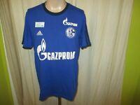 """FC Schalke 04 Adidas Spieler Freizeit-Training T-Shirt 2014/15 """"GAZPROM"""" Gr.M"""