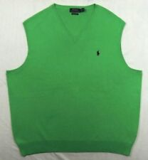 $98 Men Polo Ralph Lauren Pima Cotton V Neck Pony Pullover GREEN Sweater Vest M