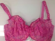 Bettie Page Inspired Secrets in Lace Balconette Bra Pink Size 40D-New with Tags