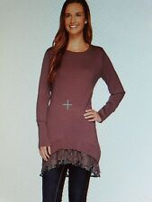 NIP - Logo by Lori Goldstein - 3X - Cotton Cashmere Sweater W/ Lace Trim - Maple