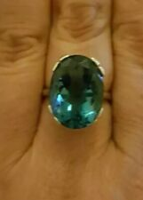 13 carat Natural LONDON BLUE TOPAZ ring solid Sterling silver size N A VTG swiss
