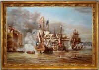 Ölbild, Schlacht bei Puerto Bello, Seeschlacht HANDGEMALT Gemälde F: 60x90cm