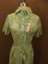 Nos Vtg 1950s New Blue Green Whimsy Daisy Fitted Cotton Summer Shirt Dress Sz Xl
