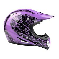 Typhoon Adult Dirt Bike Helmet ATV Off Road ORV Motocross Purple DOT Motorcycle