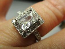 Sterling Silver 925 Radiant 7Mm Cubic Zirconia W / Round Accents Ring Size 7