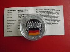 *Cook Island 1 Dollar 2001 Silber PP(500 -ca20g)*Fußball WM/Deutschland(Schu50)