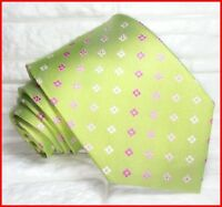 Cravatta uomo jaquard verde e rosa Made in Italy SETA business matrimoni  RP€ 40