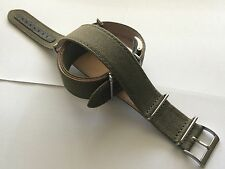 22mm Fabric / Leather Watch Band Strap Pilot Diver Military Green