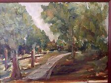 Vintage Oil Painting Impressionist Urban Park Summertime Framed& Signed