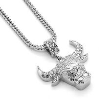 "Mens Silver Plated Iced Out Bull Small Pendant 24"" Franco Necklace Chain"