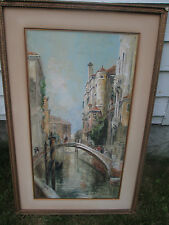 c1910 Water Francis Brown Signed Venice Italy Bridge Rialto Watercolor Painting