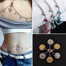 Rhinestone Navel Ring Belly Button Bar Waist Chain Dangle Body Piercing Colors