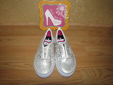 NWOB Airospeed Silver Glitter Sequin Sneakers - Girl's 1 European 32.5