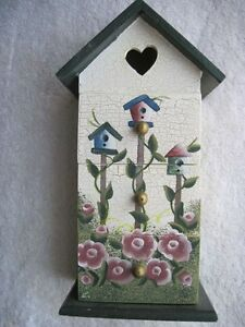 Birdhouse Rose Wood Chest Heart Cutout Chic Shabby Crackle Jewelry Box Drawers