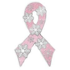 Pink Ribbon Snowflake Lapel Pin Breast Cancer Awareness Snow Silver Plated New