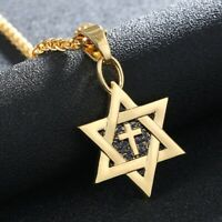 Gold Silver plated Christian Cross & Jewish Star of David Necklace Pendant Charm
