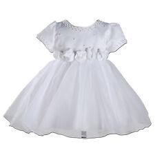 NUOVO Bianco Satin Party Damigella Matrimonio Abito Battesimo 2-3 anni