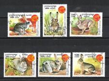 Animaux Lapin Cambodge (89) série complète 6 timbres oblitérés