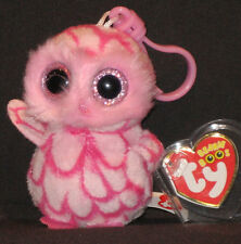 TY BEANIE BOOS BOO'S - PINKY the OWL KEY CLIP - MINT with MINT TAG