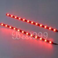 2x Red 12 LEDs 30cm 5050 SMD LED Strip Light Flexible Waterproof 12V DIY Car