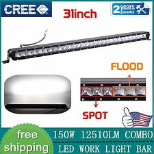 "Slim 31"" 150W CREE LED Light Bar Combo Beam Off-road Single Row Driving Lamp Suv"