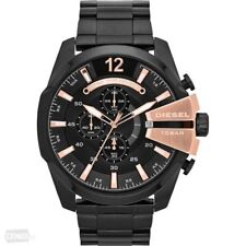*NEW* DIESEL DZ4309 WATCH MENS BLACK ROSE GOLD TONE MEGA CHIEF NEXT DAY DELIVERY