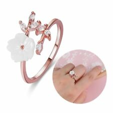 Adjustable Zircon Crystal Leaf Shell Flower Opening Ring Rose Gold Jewelry